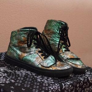 Badass Metallic Multichrome Hi Top Sneakers